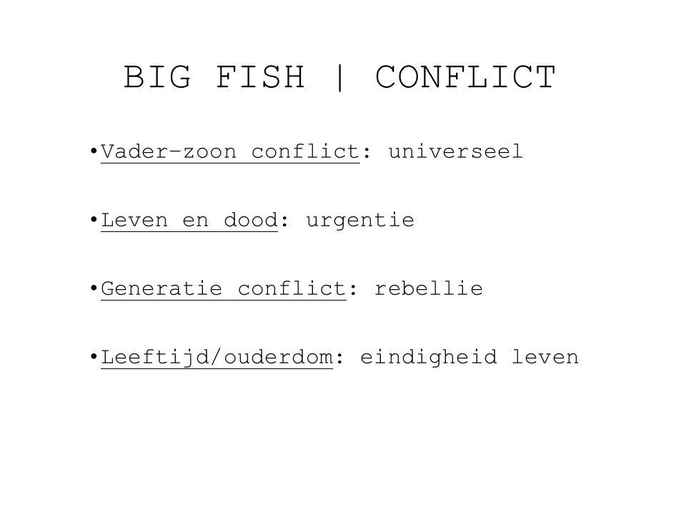 BIG FISH   CONFLICT Vader–zoon conflict: universeel Leven en dood: urgentie Generatie conflict: rebellie Leeftijd/ouderdom: eindigheid leven