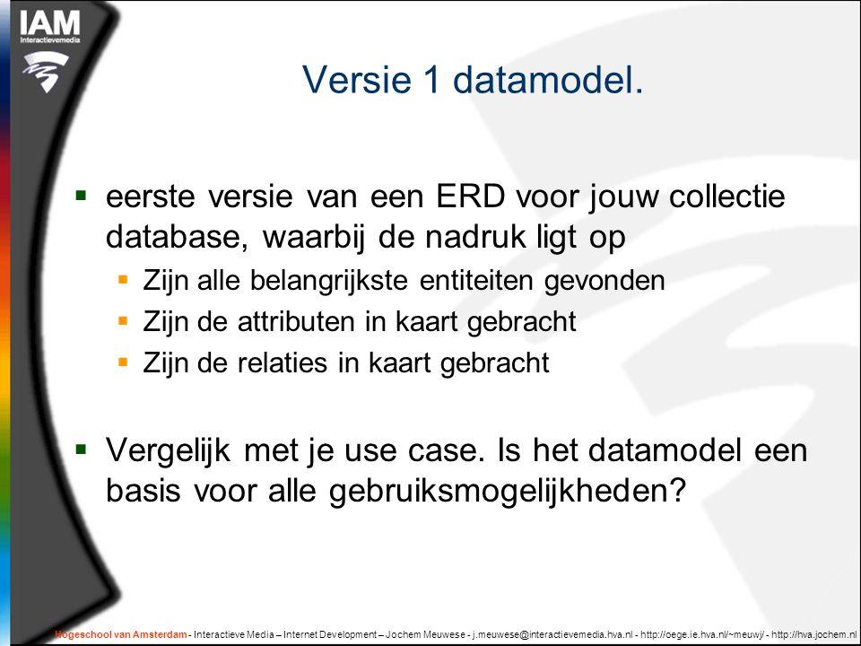 Hogeschool van Amsterdam - Interactieve Media – Internet Development – Jochem Meuwese - j.meuwese@interactievemedia.hva.nl - http://oege.ie.hva.nl/~meuwj/ - http://hva.jochem.nl Versie 1 datamodel.
