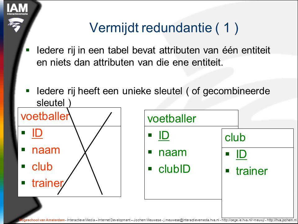 Hogeschool van Amsterdam - Interactieve Media – Internet Development – Jochem Meuwese - j.meuwese@interactievemedia.hva.nl - http://oege.ie.hva.nl/~meuwj/ - http://hva.jochem.nl Vermijdt redundantie ( 1 )  Iedere rij in een tabel bevat attributen van één entiteit en niets dan attributen van die ene entiteit.