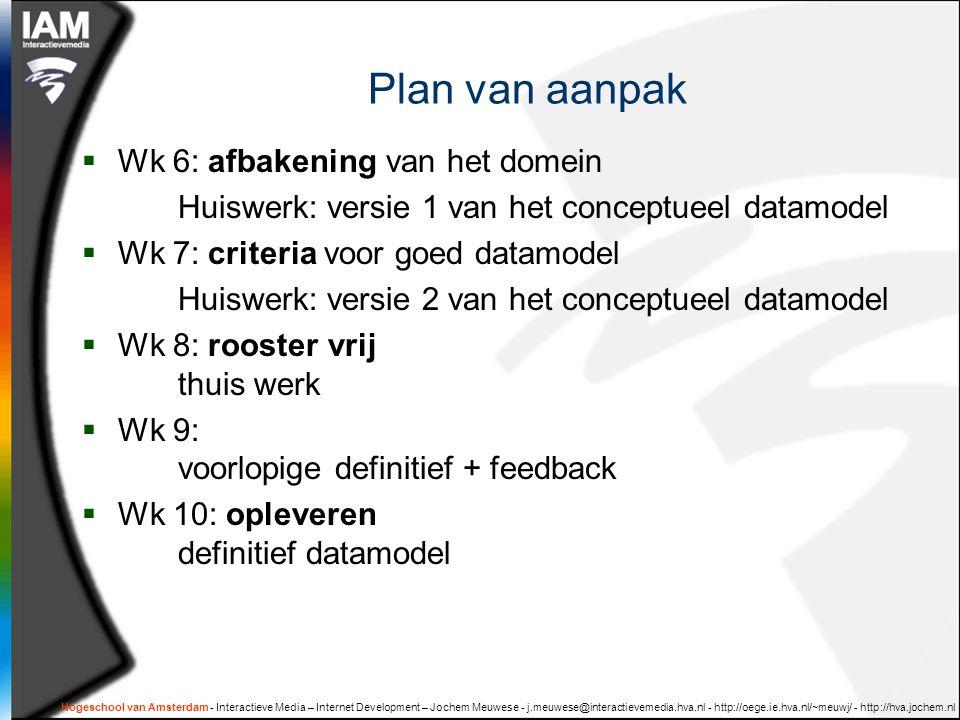 Hogeschool van Amsterdam - Interactieve Media – Internet Development – Jochem Meuwese - j.meuwese@interactievemedia.hva.nl - http://oege.ie.hva.nl/~meuwj/ - http://hva.jochem.nl Plan van aanpak  Wk 6: afbakening van het domein Huiswerk: versie 1 van het conceptueel datamodel  Wk 7: criteria voor goed datamodel Huiswerk: versie 2 van het conceptueel datamodel  Wk 8: rooster vrij thuis werk  Wk 9: voorlopige definitief + feedback  Wk 10: opleveren definitief datamodel