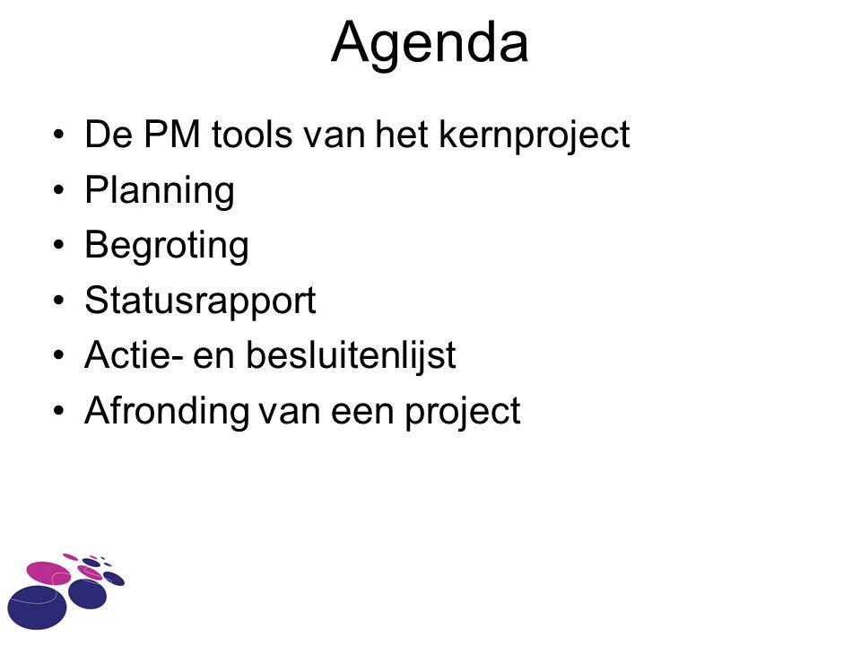 Agenda De PM tools van het kernproject Planning Begroting Statusrapport Actie- en besluitenlijst Afronding van een project