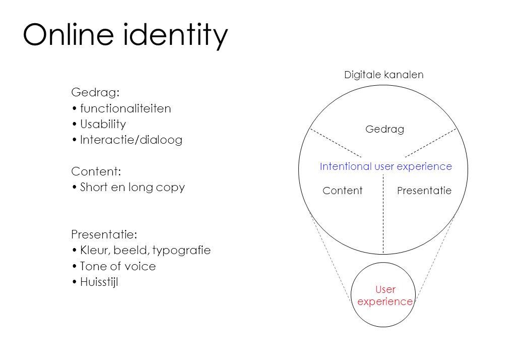 Online identity Gedrag: functionaliteiten Usability Interactie/dialoog Content: Short en long copy Presentatie: Kleur, beeld, typografie Tone of voice