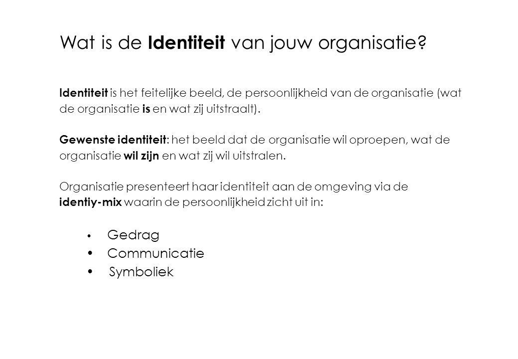 Wat is de Identiteit van jouw organisatie? Identiteit is het feitelijke beeld, de persoonlijkheid van de organisatie (wat de organisatie is en wat zij