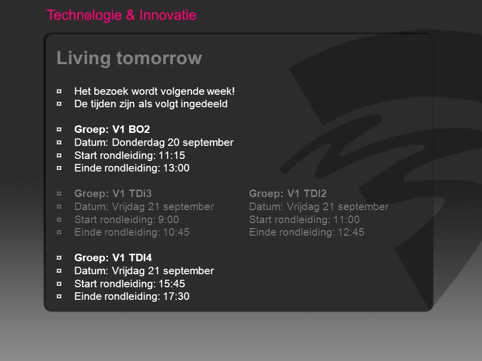 Living tomorrow ¤Het bezoek wordt volgende week.