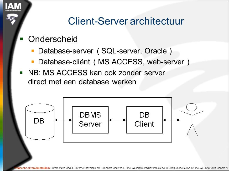 Hogeschool van Amsterdam - Interactieve Media – Internet Development – Jochem Meuwese - j.meuwese@interactievemedia.hva.nl - http://oege.ie.hva.nl/~meuwj/ - http://hva.jochem.nl Download en installeer de gereedschappen  XAMP  Apache server ( http )  mySql server  DBDesigner  IAM SQL oefeningen Database  phpmyAdmin Import : sql_products.sql, sql_winkel.sql  DBDesigner open : productsERD.xml, winkelERD.xml