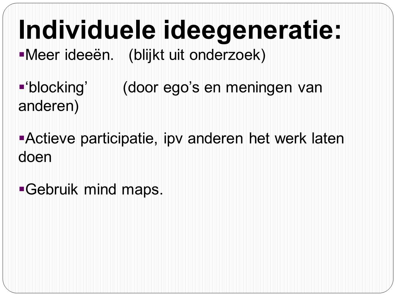 Individuele ideegeneratie:  Meer ideeën. (blijkt uit onderzoek)  'blocking' (door ego's en meningen van anderen)  Actieve participatie, ipv anderen