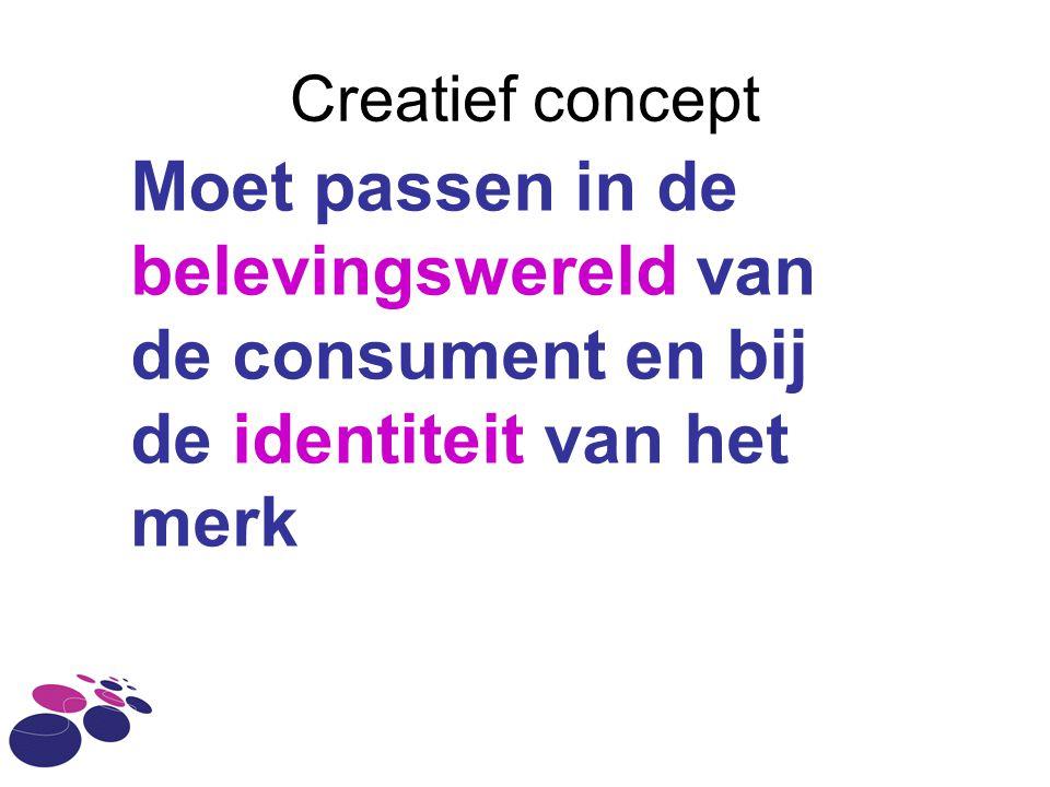 Creatief concept Moet passen in de belevingswereld van de consument en bij de identiteit van het merk