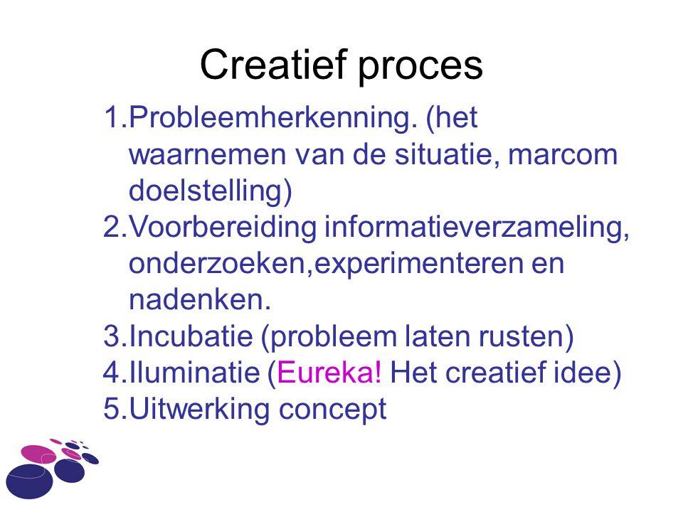 Creatief proces 1.Probleemherkenning. (het waarnemen van de situatie, marcom doelstelling) 2.Voorbereiding informatieverzameling, onderzoeken,experime