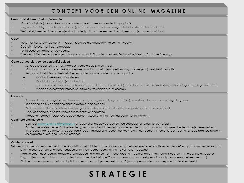 S T R A T E G I E Contentvoorstel Zet de conclusies van je onderzoek kort en krachtig in het midden van je papier (usp's, met welke redenen/motieven en behoeften gaan jouw bezoekers naar jullie magazine en belangrijkste trends en ontwikkelingen rondom het thema van jullie magazine).