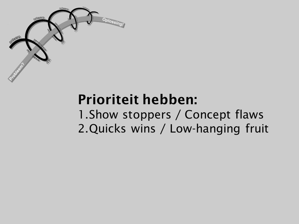 Prioriteit hebben: 1.Show stoppers / Concept flaws 2.Quicks wins / Low-hanging fruit