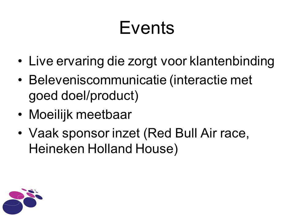 Events Live ervaring die zorgt voor klantenbinding Beleveniscommunicatie (interactie met goed doel/product) Moeilijk meetbaar Vaak sponsor inzet (Red Bull Air race, Heineken Holland House)