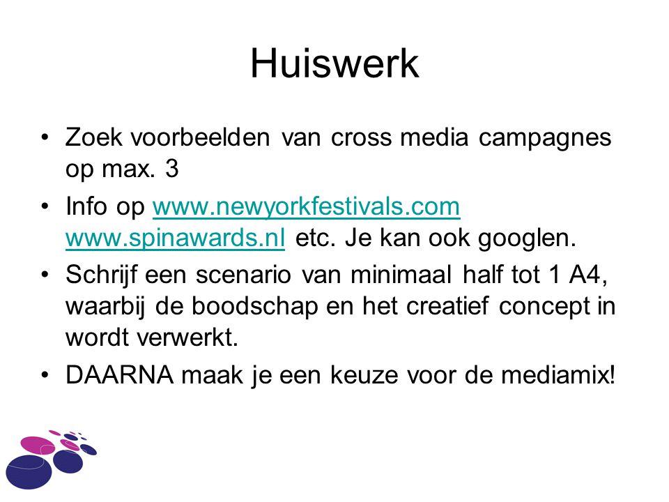 Huiswerk Zoek voorbeelden van cross media campagnes op max.