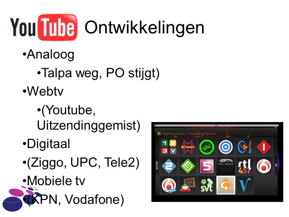 Ontwikkelingen Analoog Talpa weg, PO stijgt) Webtv (Youtube, Uitzendinggemist) Digitaal (Ziggo, UPC, Tele2) Mobiele tv (KPN, Vodafone)