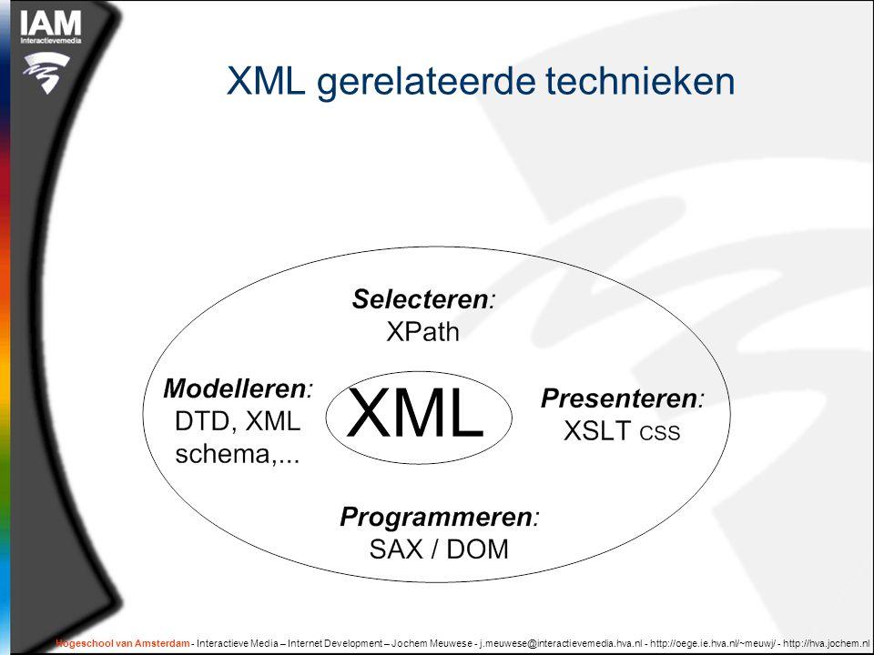 Hogeschool van Amsterdam - Interactieve Media – Internet Development – Jochem Meuwese - j.meuwese@interactievemedia.hva.nl - http://oege.ie.hva.nl/~meuwj/ - http://hva.jochem.nl XML gerelateerde technieken