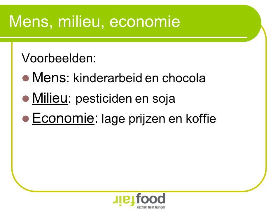 Mens, milieu, economie Voorbeelden: Mens : kinderarbeid en chocola Milieu : pesticiden en soja Economie: lage prijzen en koffie