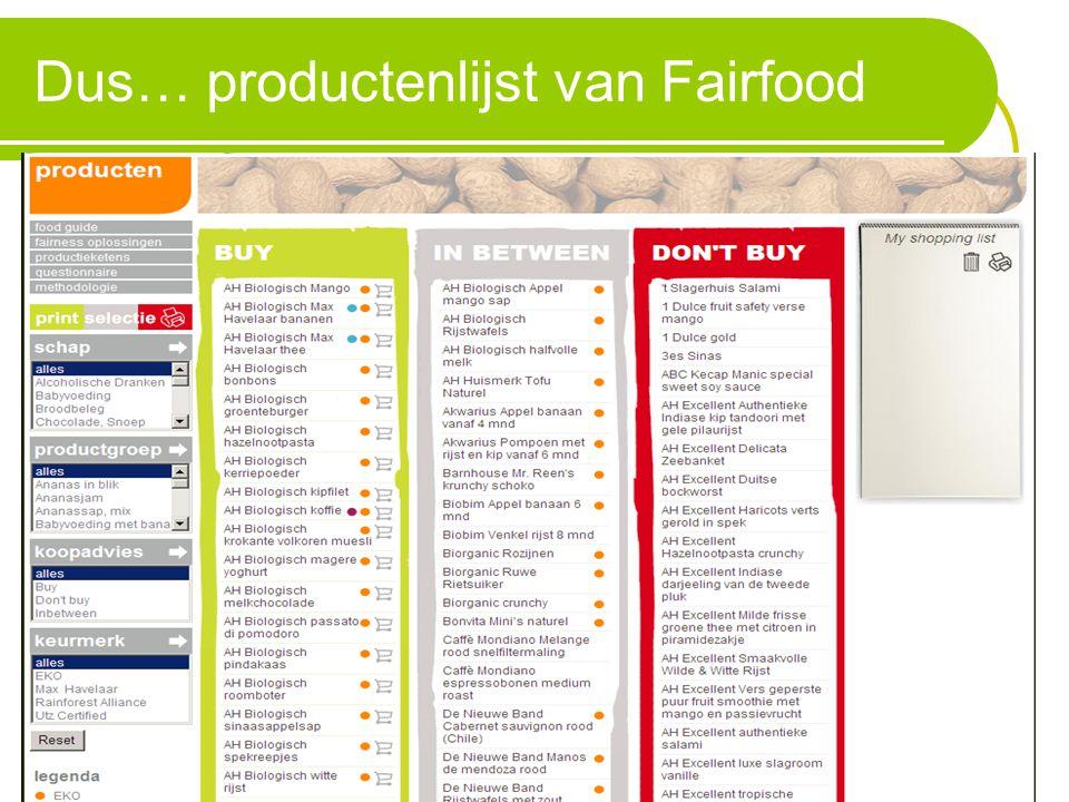 Dus… productenlijst van Fairfood