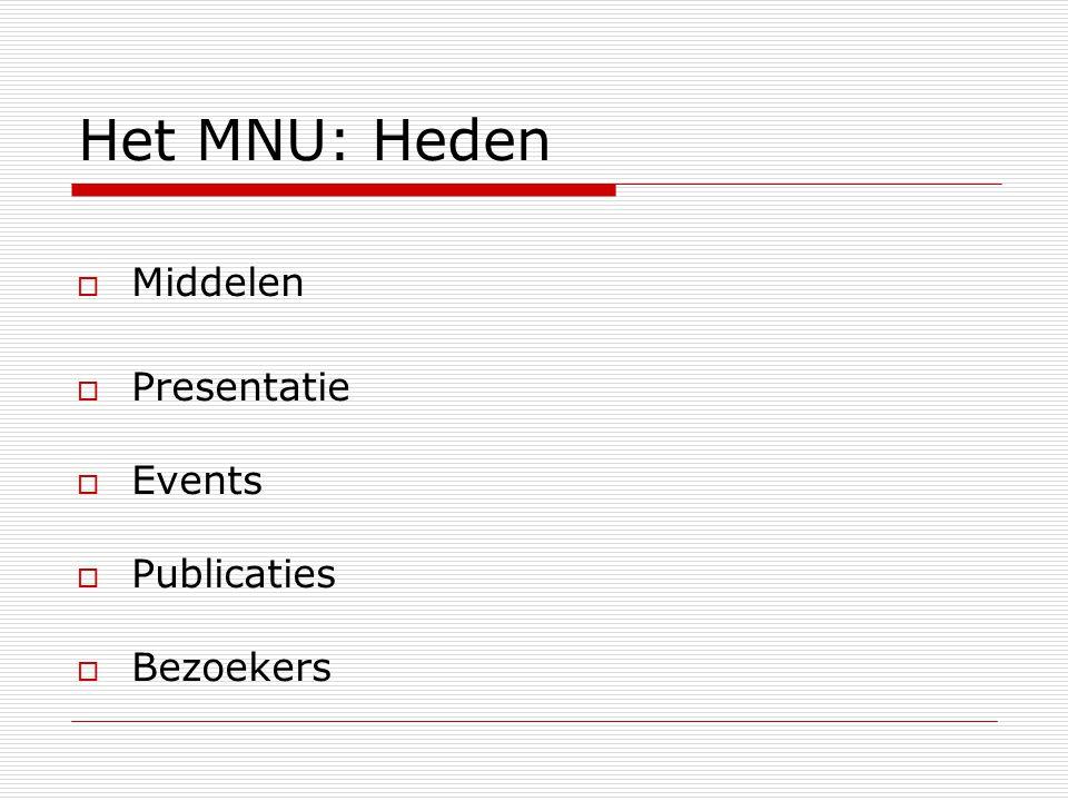 Het MNU: Heden  Middelen  Presentatie  Events  Publicaties  Bezoekers