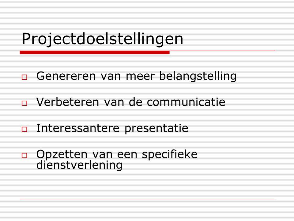 Projectdoelstellingen  Genereren van meer belangstelling  Verbeteren van de communicatie  Interessantere presentatie  Opzetten van een specifieke dienstverlening