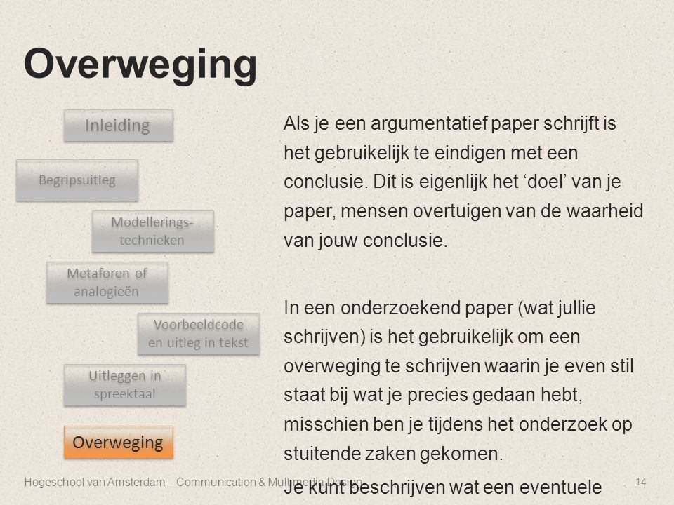 Hogeschool van Amsterdam – Communication & Multimedia Design Overweging 14 Inleiding Begripsuitleg Uitleggen in spreektaal Metaforen of analogieën Voo