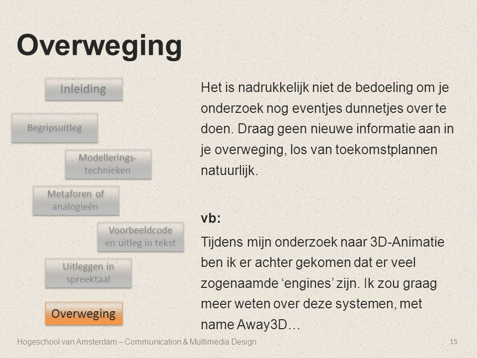 Hogeschool van Amsterdam – Communication & Multimedia Design Overweging 15 Inleiding Begripsuitleg Uitleggen in spreektaal Metaforen of analogieën Voo