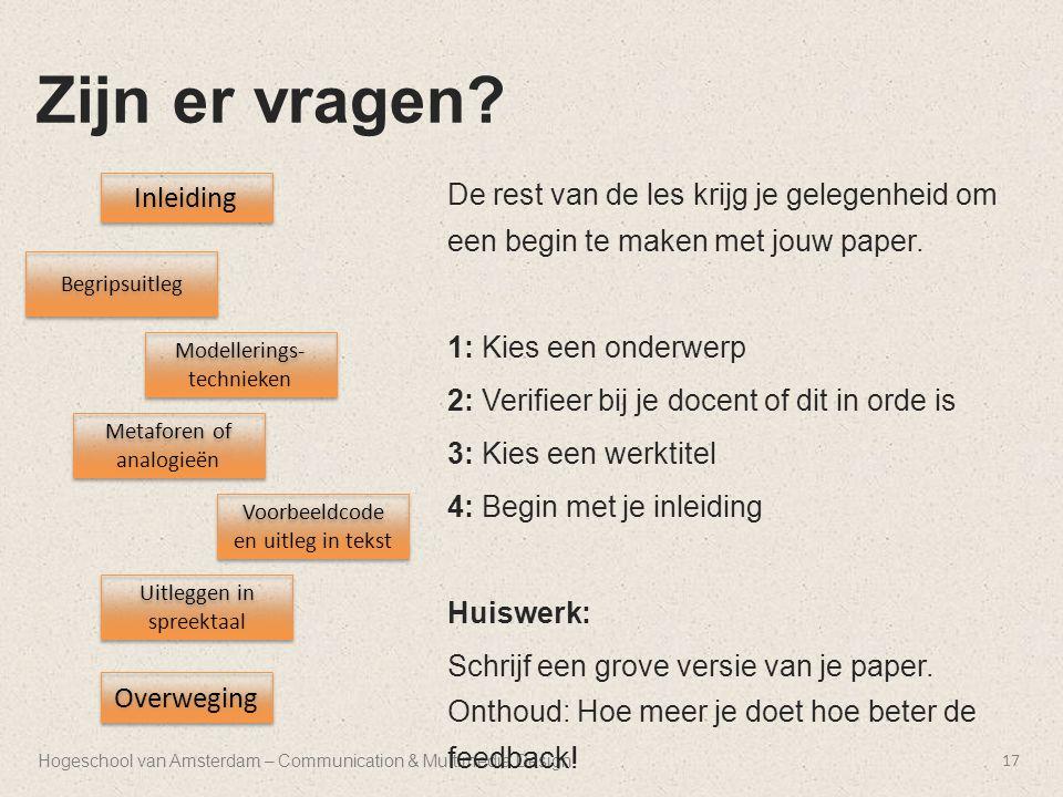 Hogeschool van Amsterdam – Communication & Multimedia Design Zijn er vragen.