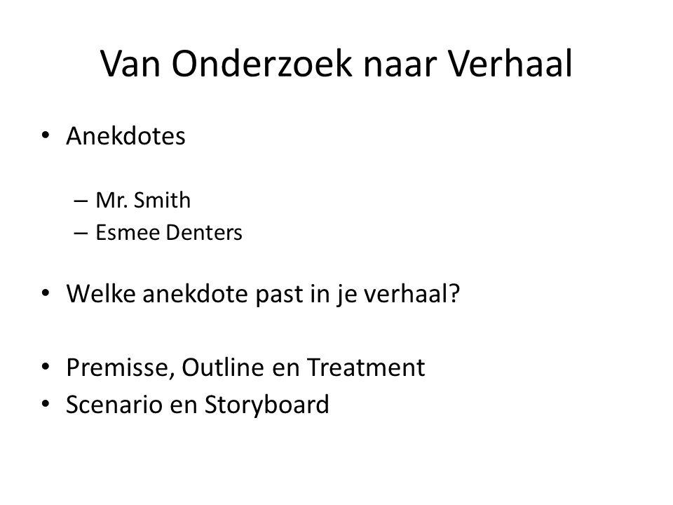 Van Onderzoek naar Verhaal Anekdotes – Mr. Smith – Esmee Denters Welke anekdote past in je verhaal? Premisse, Outline en Treatment Scenario en Storybo