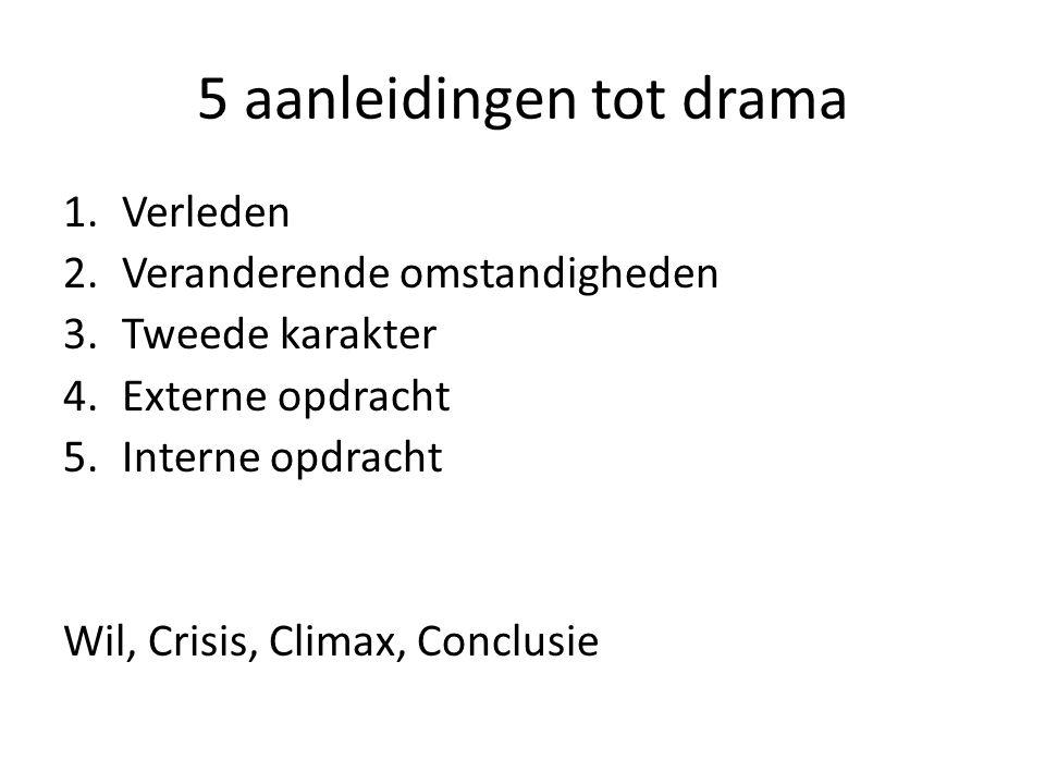 5 aanleidingen tot drama 1.Verleden 2.Veranderende omstandigheden 3.Tweede karakter 4.Externe opdracht 5.Interne opdracht Wil, Crisis, Climax, Conclus