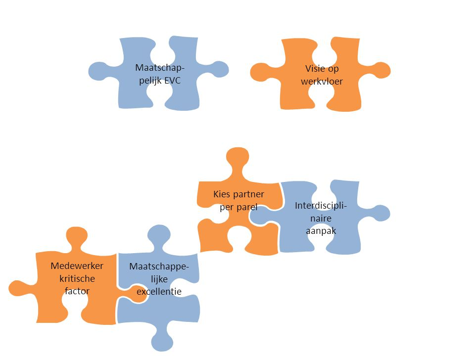 Visie op werkvloer Medewerker kritische factor Maatschappe- lijke excellentie Interdiscipli- naire aanpak Maatschap- pelijk EVC Kies partner per parel