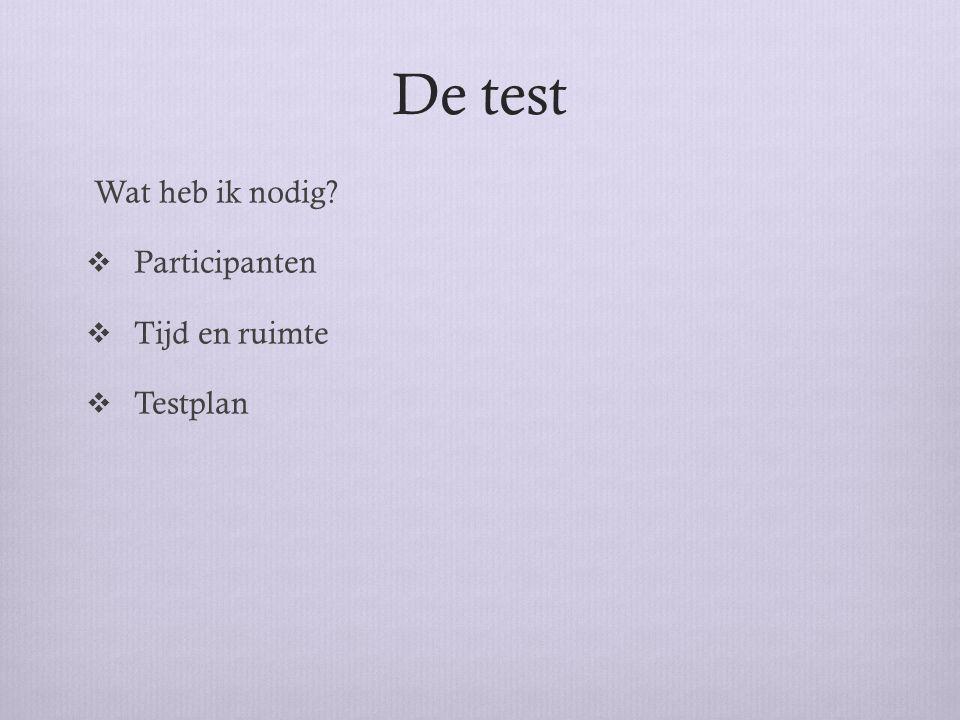Testplan (draaiboek) Beschrijf hoe een testsessie eruit gaat zien  Hoe registreer je de test.