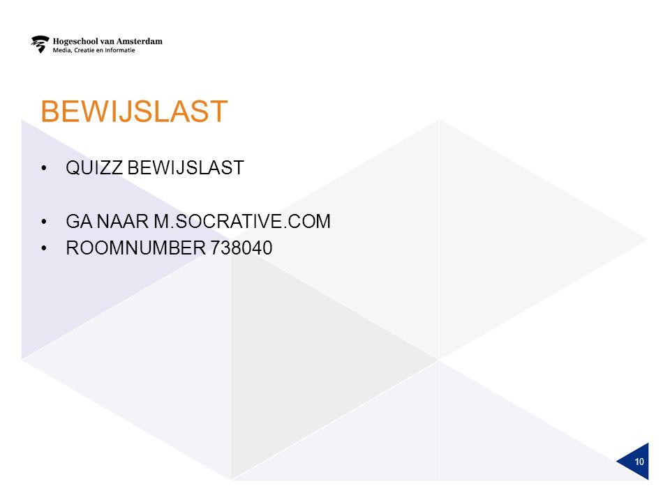 BEWIJSLAST QUIZZ BEWIJSLAST GA NAAR M.SOCRATIVE.COM ROOMNUMBER 738040 10