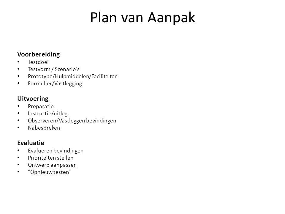 Plan van Aanpak Voorbereiding Testdoel Testvorm / Scenario's Prototype/Hulpmiddelen/Faciliteiten Formulier/Vastlegging Uitvoering Preparatie Instructi