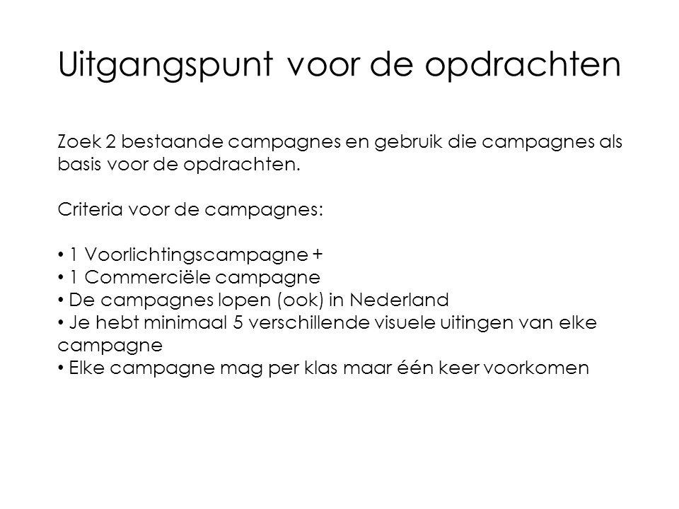 Uitgangspunt voor de opdrachten Zoek 2 bestaande campagnes en gebruik die campagnes als basis voor de opdrachten.
