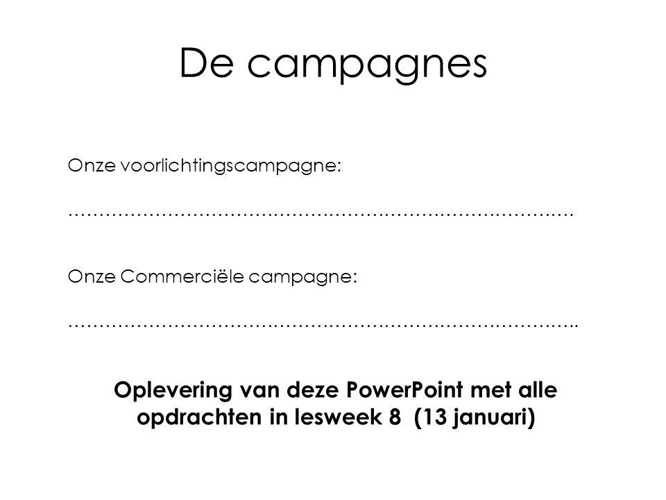 De campagnes Onze voorlichtingscampagne: ……………………………………………………………………….