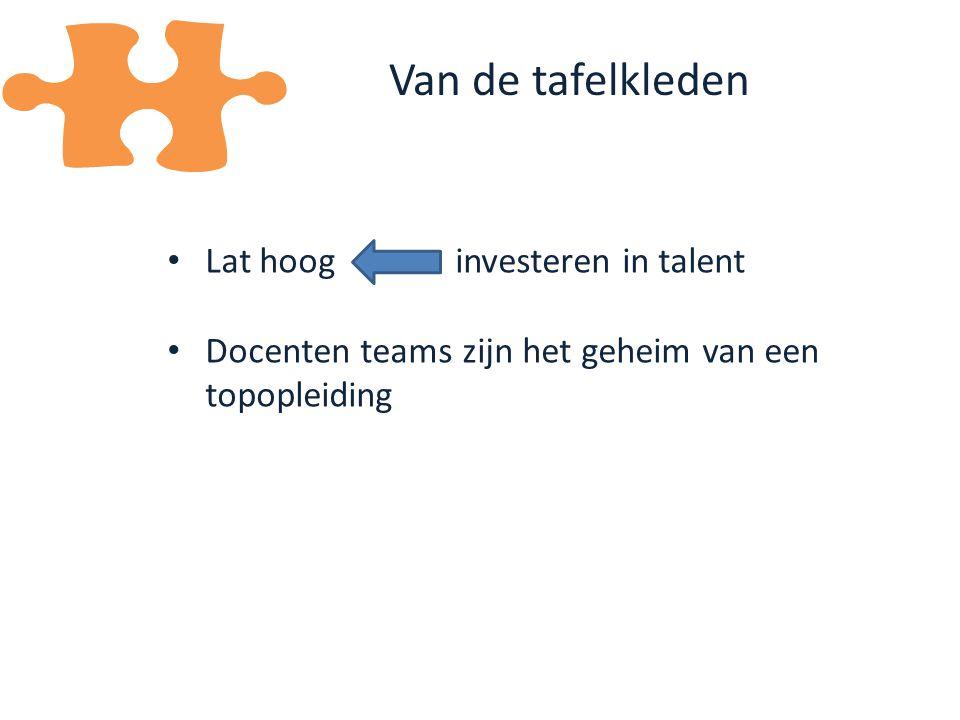 Lat hoog investeren in talent Docenten teams zijn het geheim van een topopleiding Van de tafelkleden