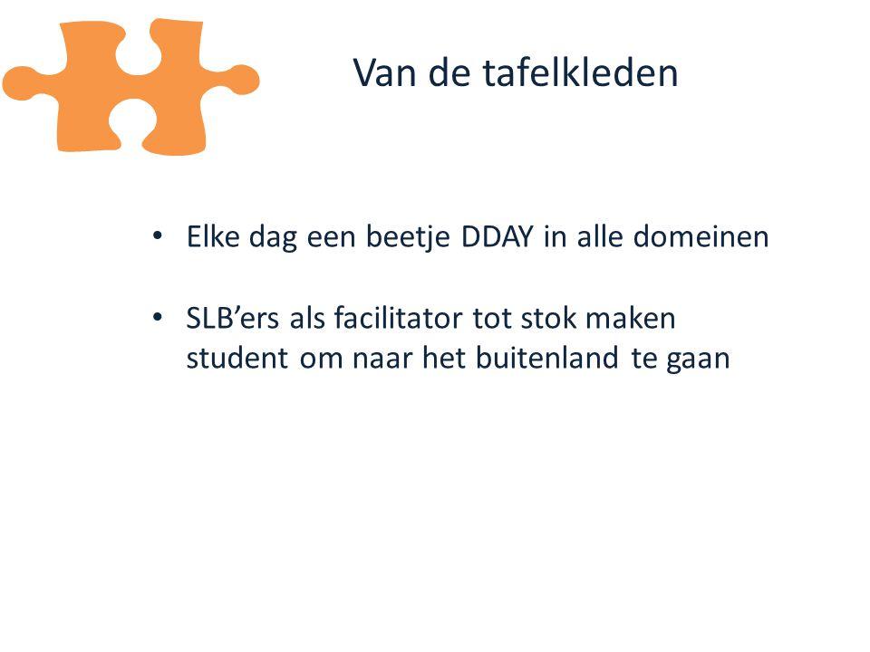 Elke dag een beetje DDAY in alle domeinen SLB'ers als facilitator tot stok maken student om naar het buitenland te gaan Van de tafelkleden