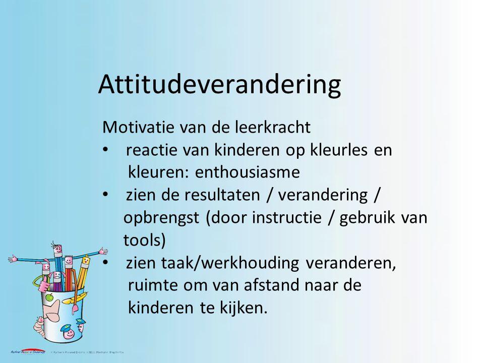 Attitudeverandering Motivatie van de leerkracht reactie van kinderen op kleurles en kleuren: enthousiasme zien de resultaten / verandering / opbrengst (door instructie / gebruik van tools) zien taak/werkhouding veranderen, ruimte om van afstand naar de kinderen te kijken.