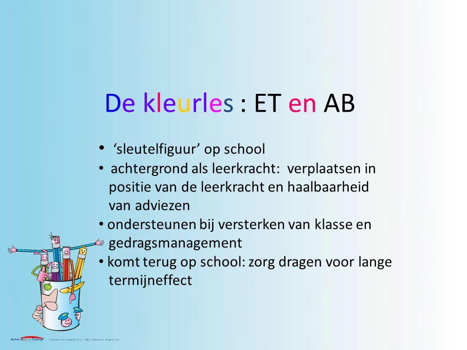 De kleurles : ET en AB 'sleutelfiguur' op school achtergrond als leerkracht: verplaatsen in positie van de leerkracht en haalbaarheid van adviezen ondersteunen bij versterken van klasse en gedragsmanagement komt terug op school: zorg dragen voor lange termijneffect