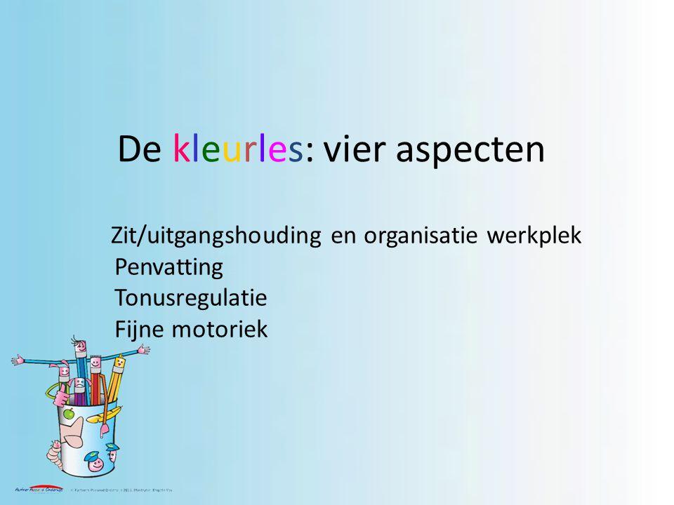 De kleurles: vier aspecten Zit/uitgangshouding en organisatie werkplek Penvatting Tonusregulatie Fijne motoriek