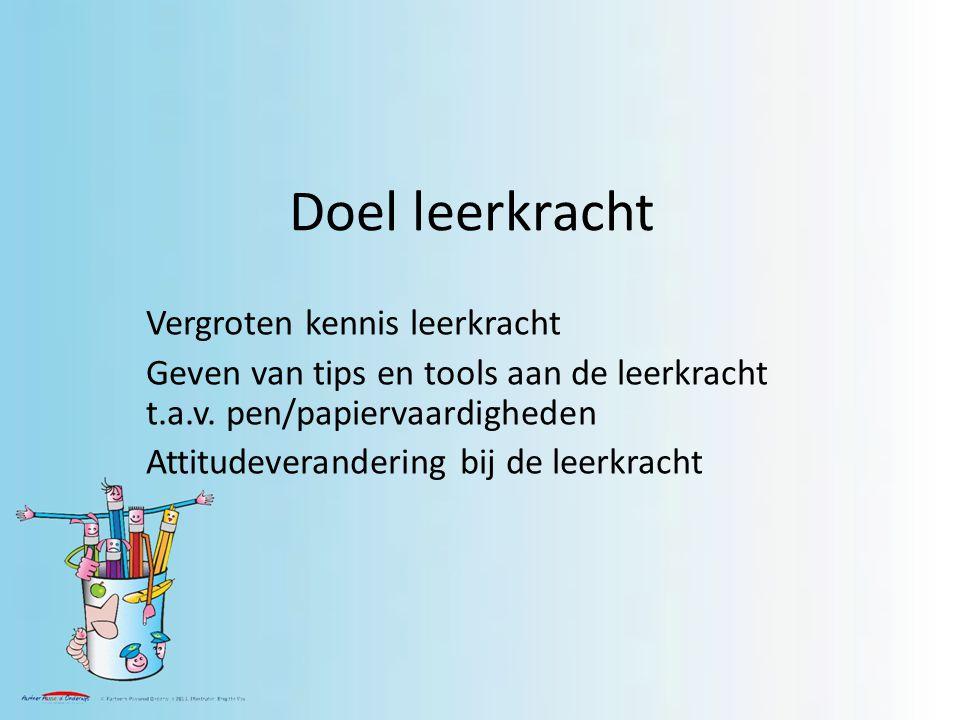 Doel leerkracht Vergroten kennis leerkracht Geven van tips en tools aan de leerkracht t.a.v.