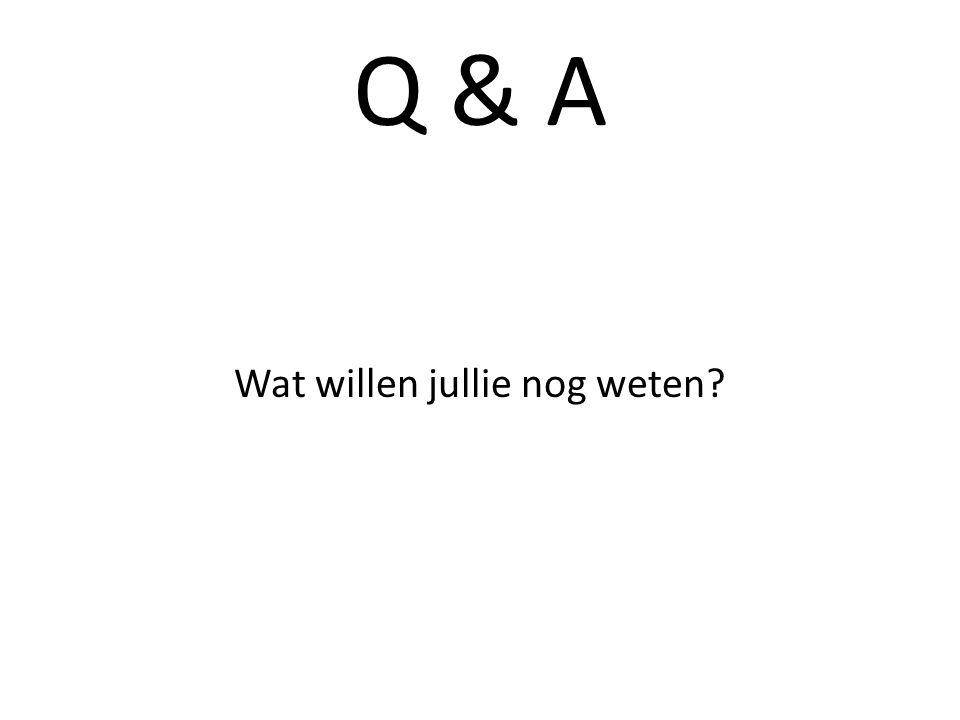 Q & A Wat willen jullie nog weten?