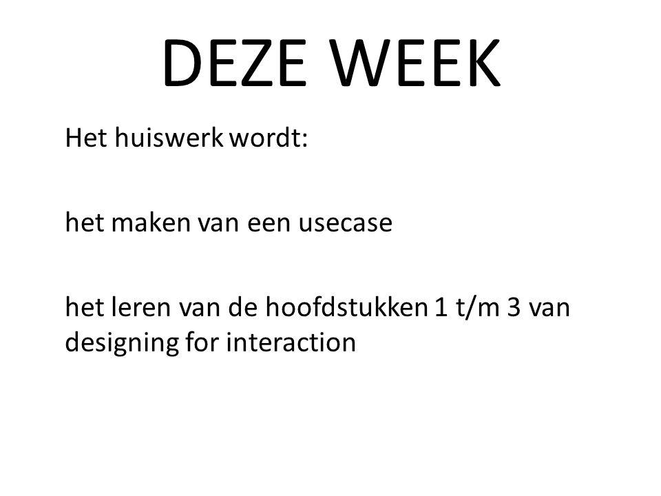 DEZE WEEK Het huiswerk wordt: het maken van een usecase het leren van de hoofdstukken 1 t/m 3 van designing for interaction