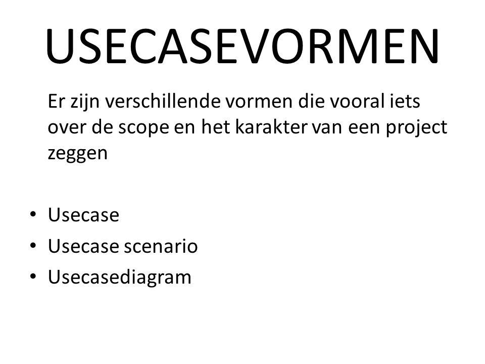 USECASEVORMEN Er zijn verschillende vormen die vooral iets over de scope en het karakter van een project zeggen Usecase Usecase scenario Usecasediagram