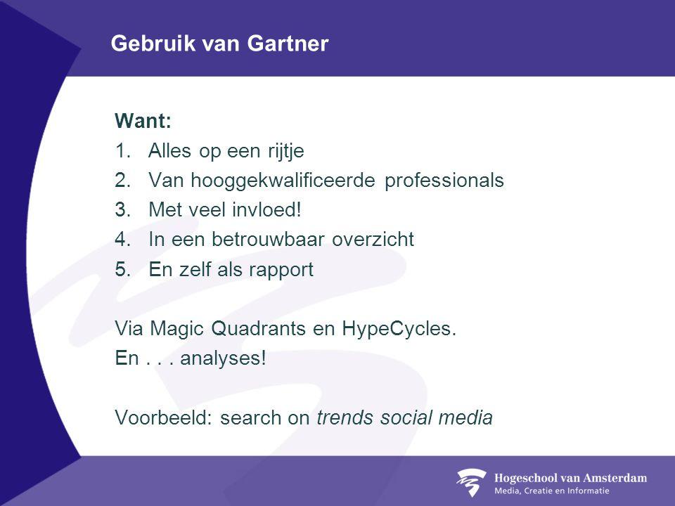 Gebruik van Gartner Want: 1.Alles op een rijtje 2.Van hooggekwalificeerde professionals 3.Met veel invloed.