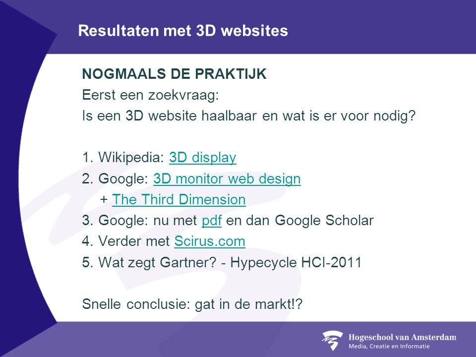 Resultaten met 3D websites NOGMAALS DE PRAKTIJK Eerst een zoekvraag: Is een 3D website haalbaar en wat is er voor nodig.