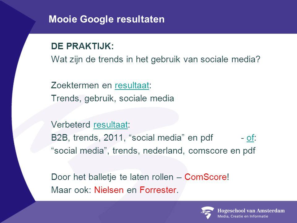 Mooie Google resultaten DE PRAKTIJK: Wat zijn de trends in het gebruik van sociale media.