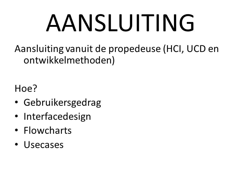 AANSLUITING Aansluiting vanuit de propedeuse (HCI, UCD en ontwikkelmethoden) Hoe.