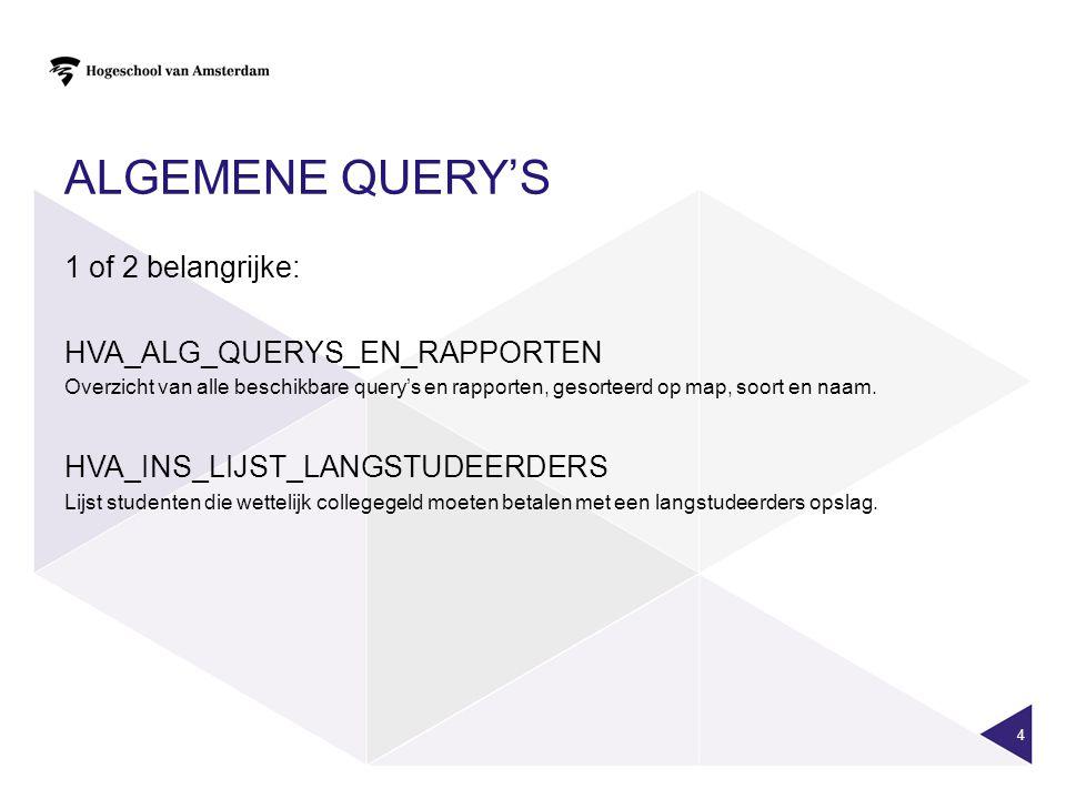 ALGEMENE QUERY'S 1 of 2 belangrijke: HVA_ALG_QUERYS_EN_RAPPORTEN Overzicht van alle beschikbare query's en rapporten, gesorteerd op map, soort en naam.
