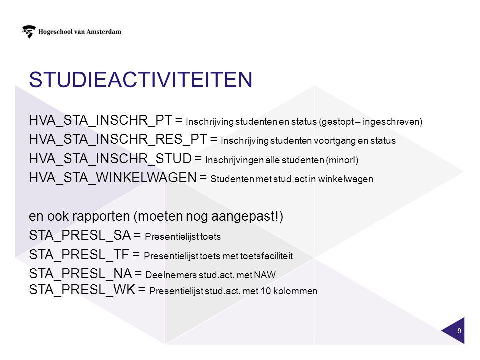 STUDIEACTIVITEITEN HVA_STA_INSCHR_PT = Inschrijving studenten en status (gestopt – ingeschreven) HVA_STA_INSCHR_RES_PT = Inschrijving studenten voortg