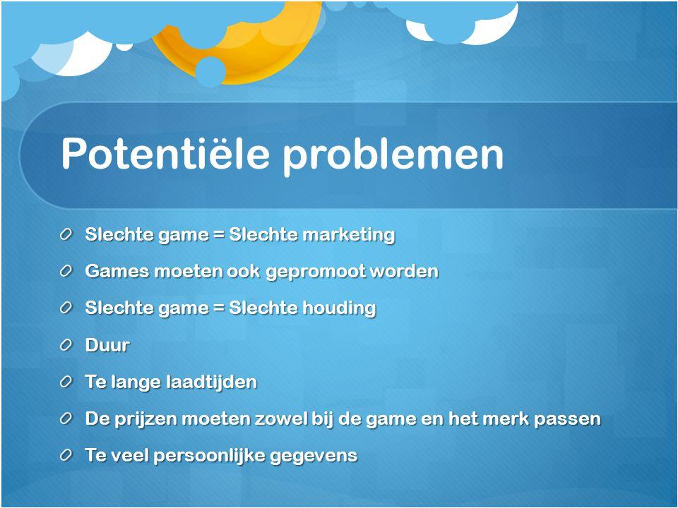 Potentiële problemen Slechte game = Slechte marketing Games moeten ook gepromoot worden Slechte game = Slechte houding Duur Te lange laadtijden De pri