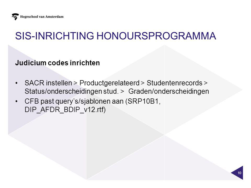 SIS-INRICHTING HONOURSPROGRAMMA Judicium codes inrichten SACR instellen > Productgerelateerd > Studentenrecords > Status/onderscheidingen stud. > Grad